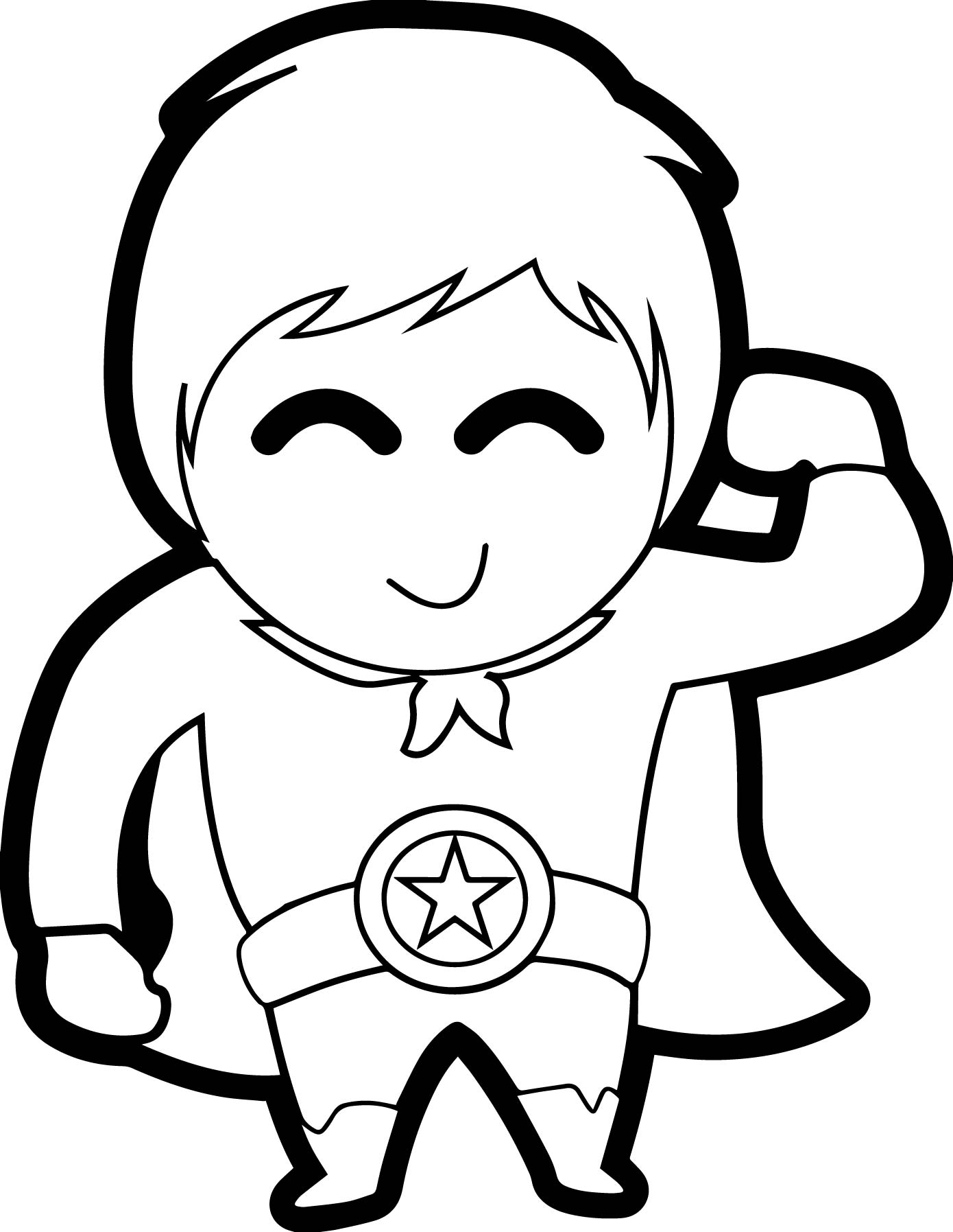 Cute Boy Heroes Coloring Page