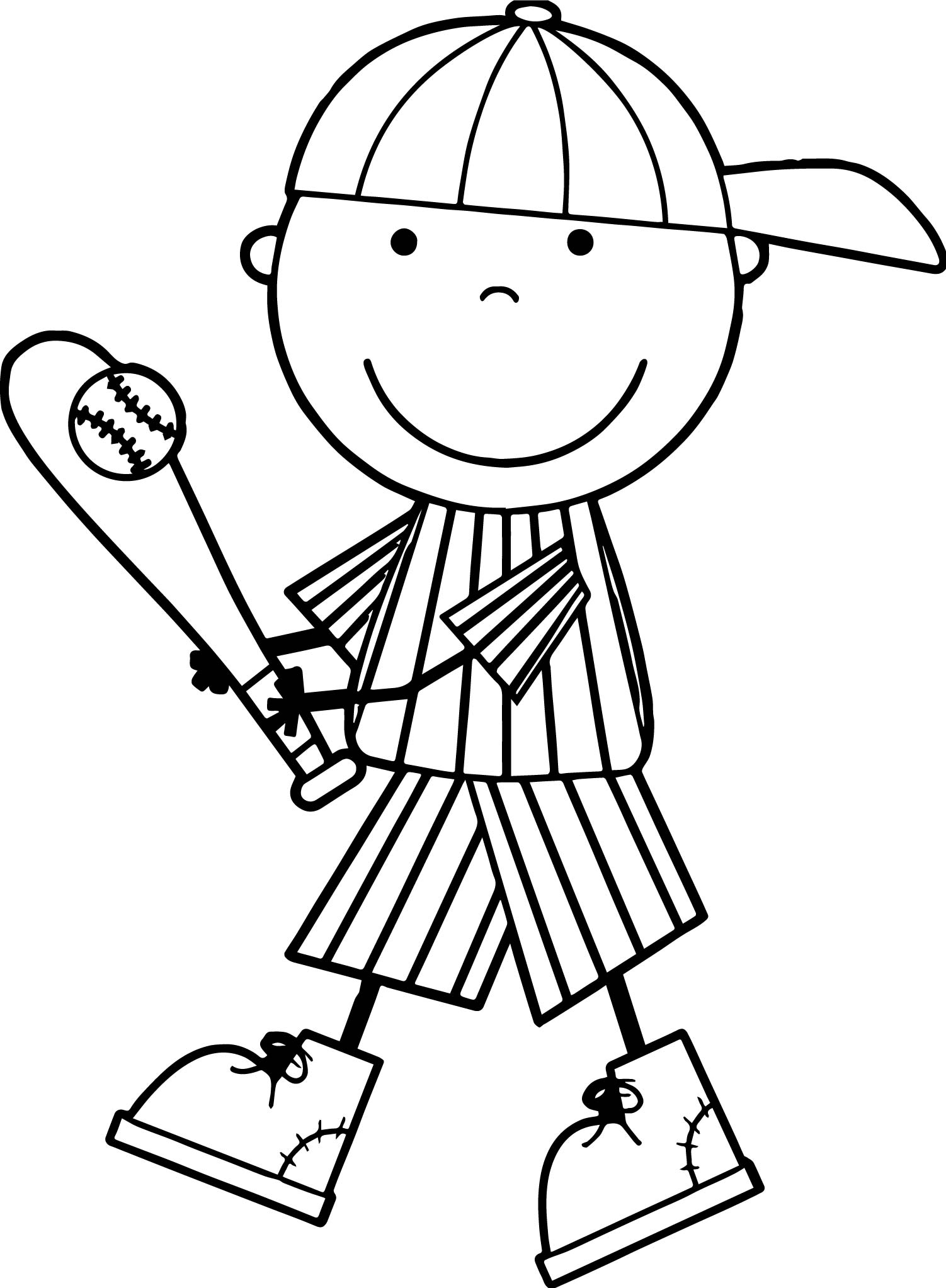 Cute kids playing baseball coloring page for Baseball coloring pages for kids