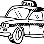 Cute Taxi Driver Car Coloring Page