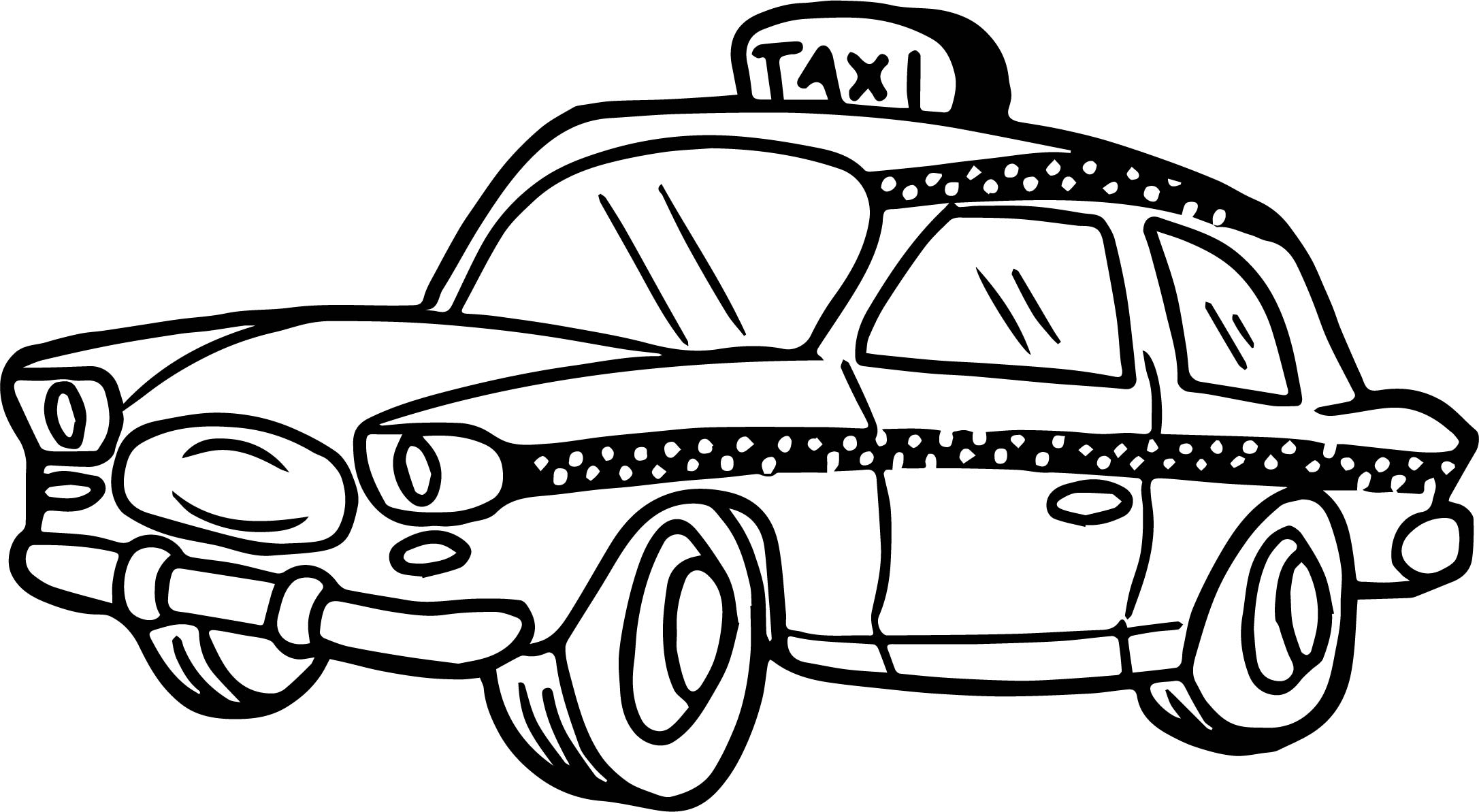 Cute taxi driver car coloring page for Taxi coloring page