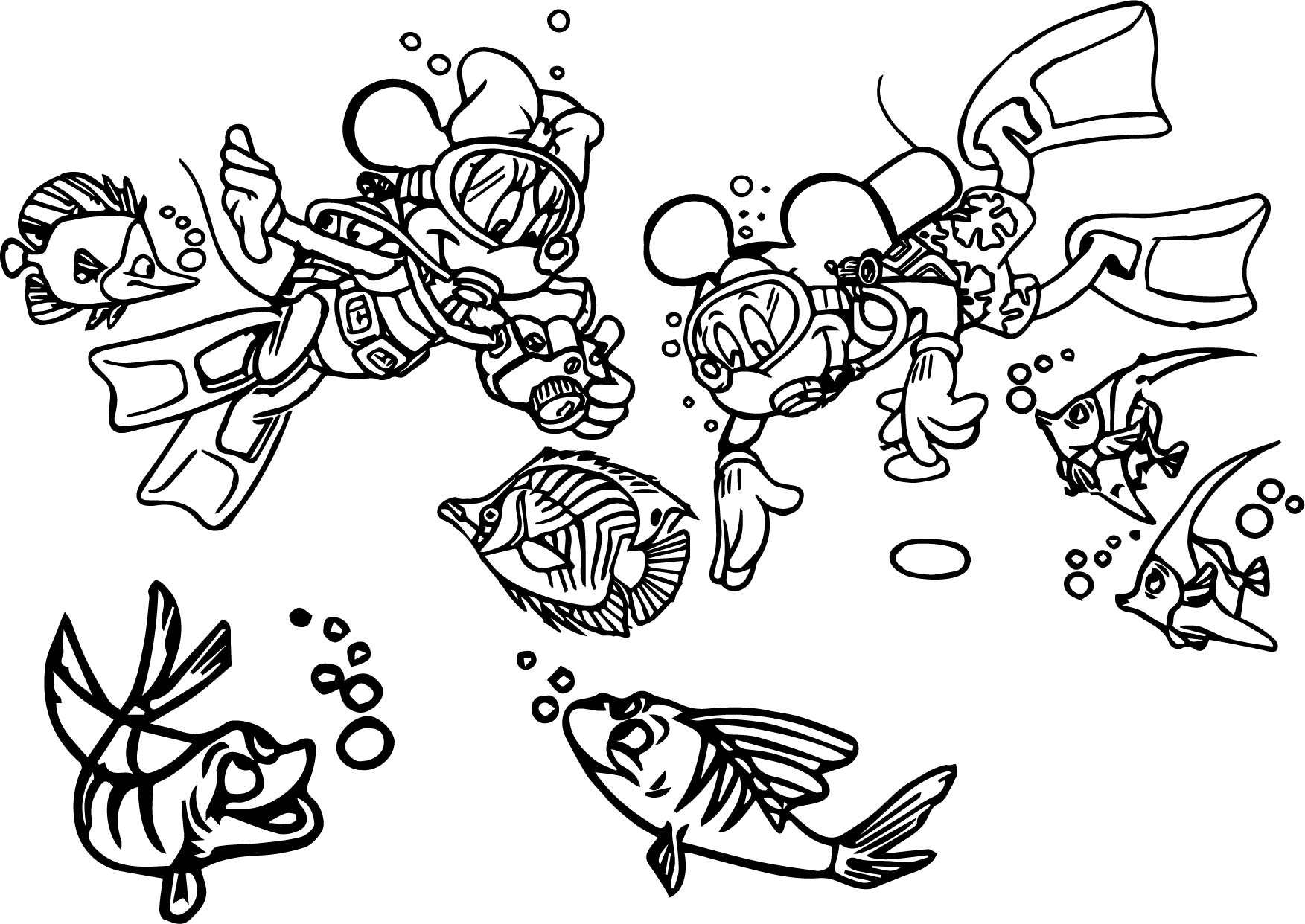 Disney Mickey Minnie Explore Underwater Shipwreck Coloring Page