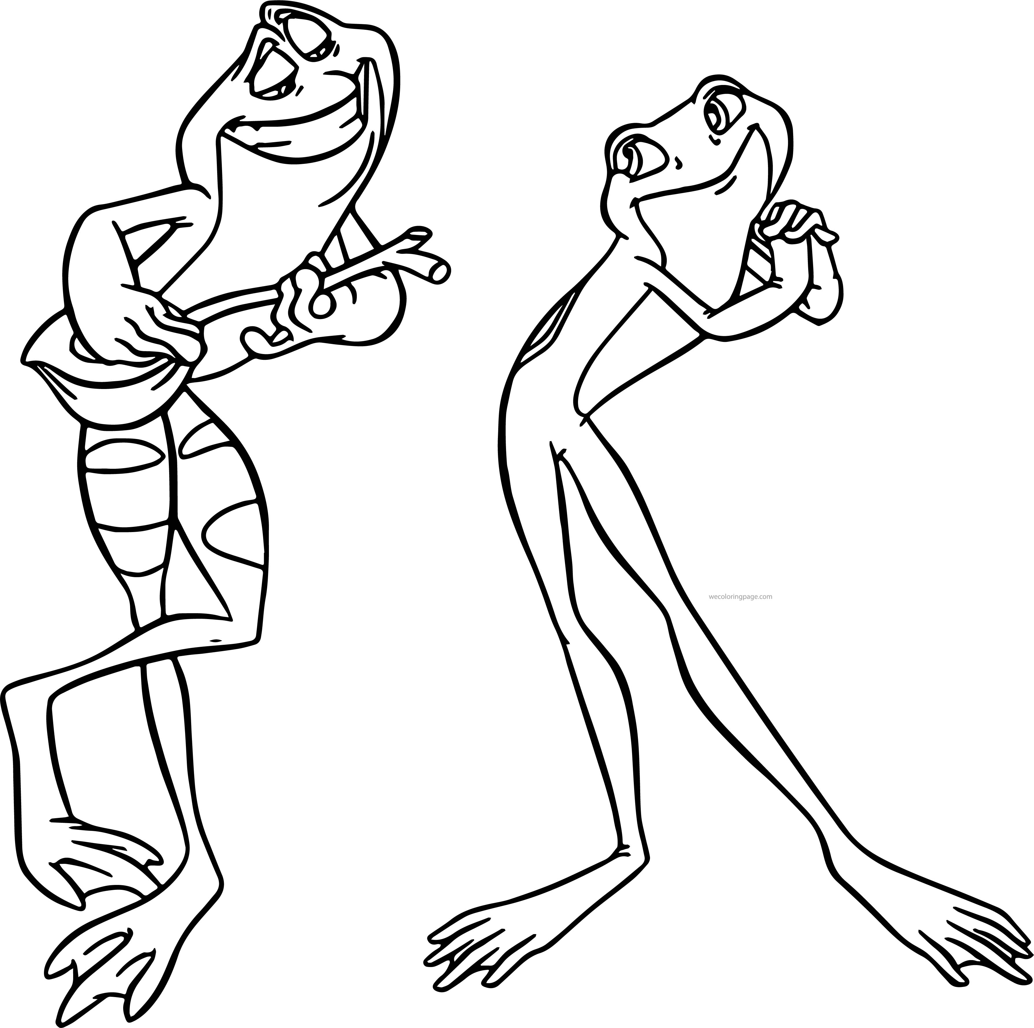 Disney The Princess And The Frog Couple Frogs Coloring