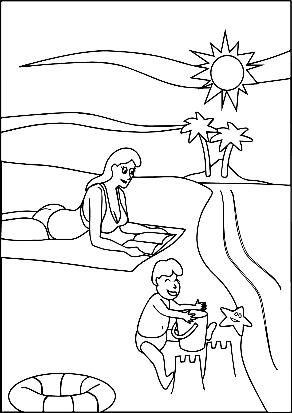 Family beach coloring page for Beach coloring book pages