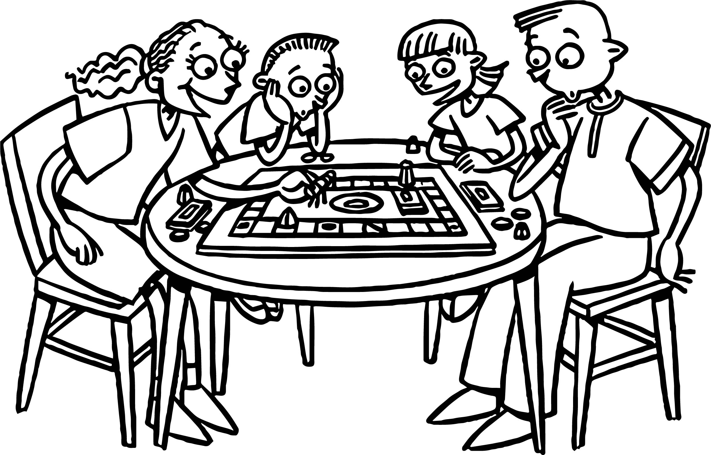 Four Friends Table Board Coloring Page