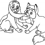 Fox Hound And Dog Playing Coloring Page