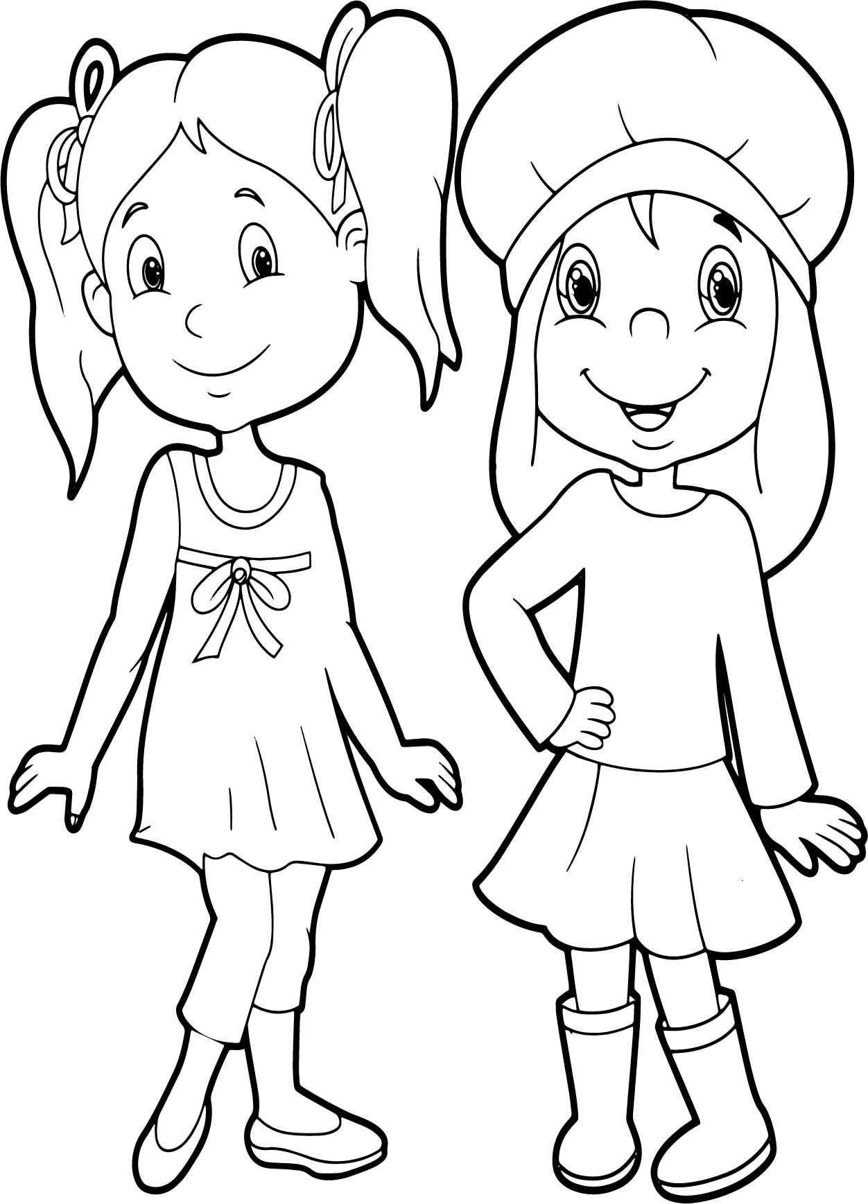 Friends Very Beautiful Girls Coloring Page ...