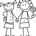 Friendship Girls Outline Coloring Page