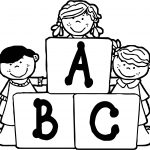 Funny School Children Abc Coloring Page
