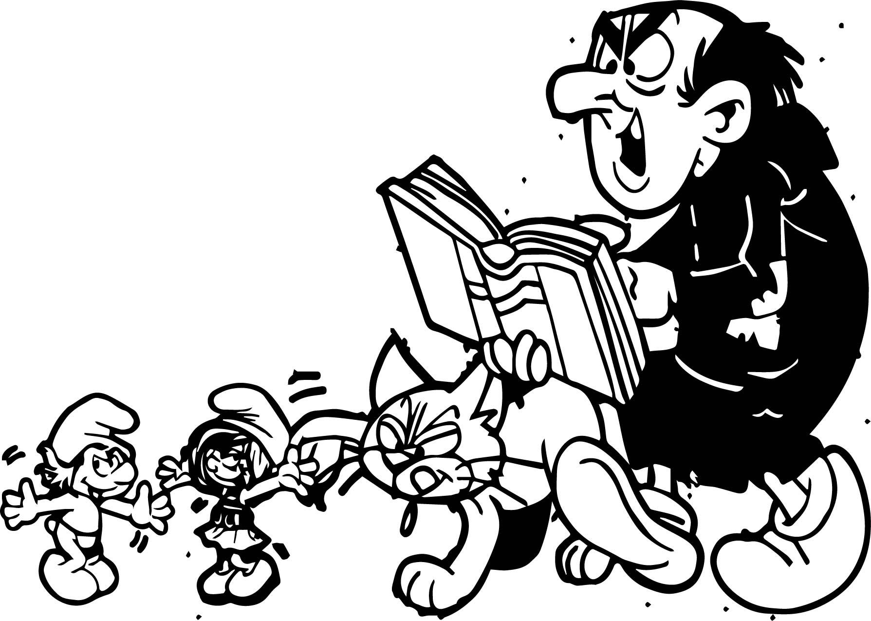 Gargamel Azrael Smurfette And Hefty Smurf Coloring Page | Wecoloringpage