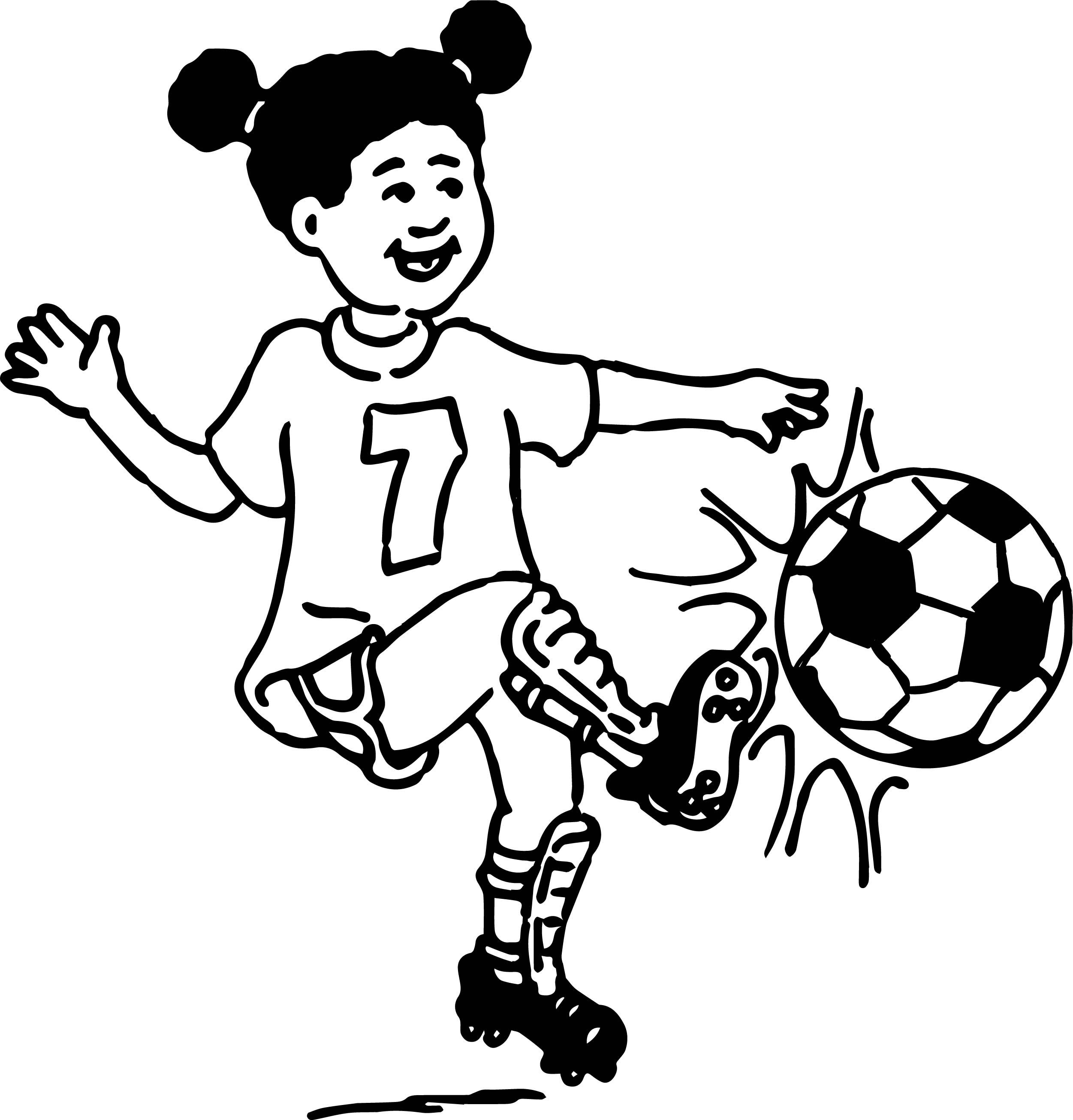 Girl Playing Soccer Coloring Page