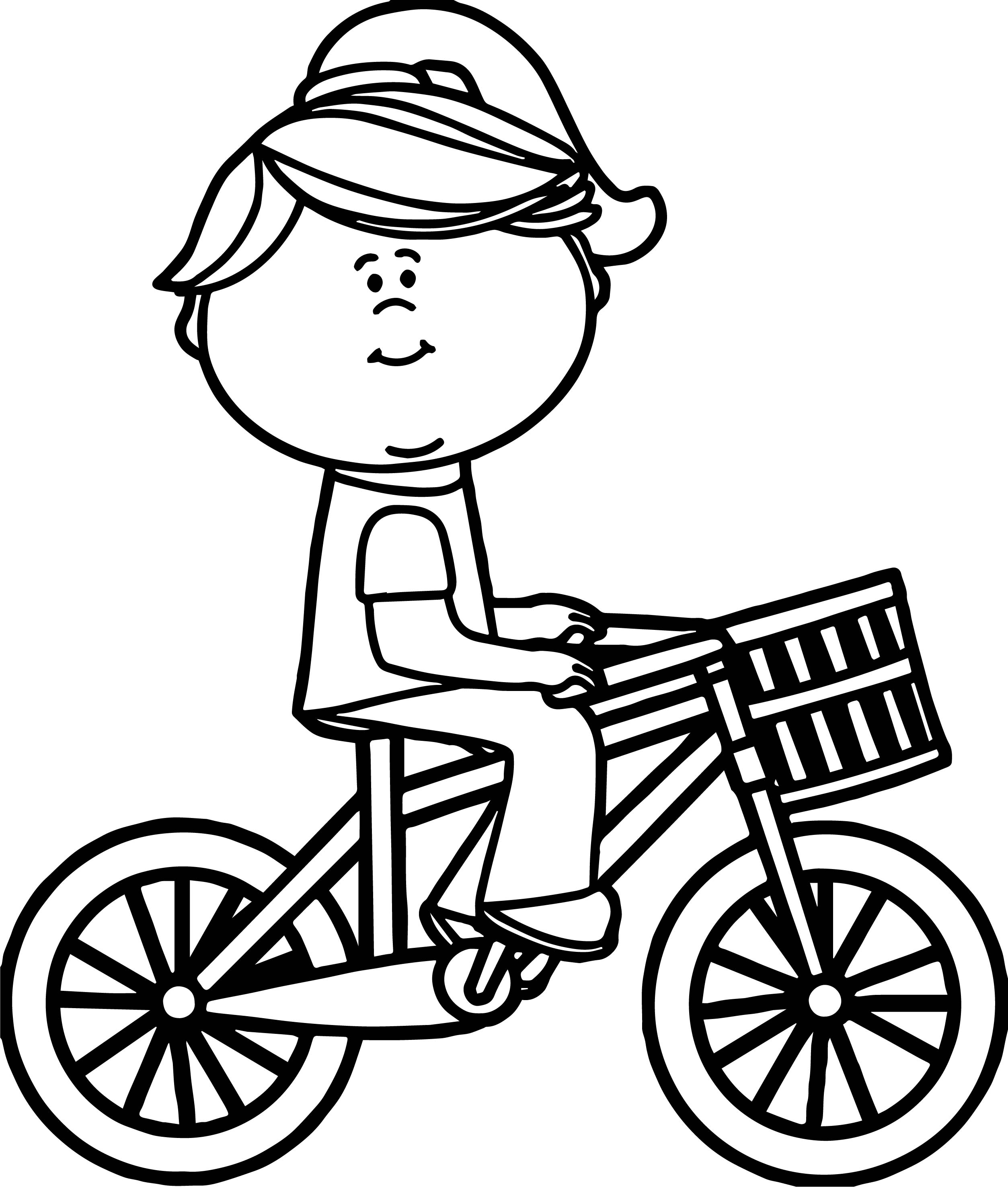 Girl riding bicycle with basket coloring page for Coloring pages bikes