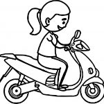Girl Riding On Blue Scooter Coloring Page