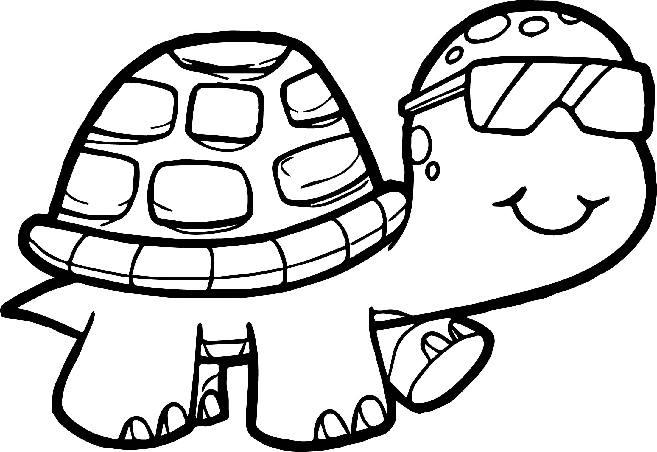 Glasses tortoise turtle coloring page for Turtle coloring pages