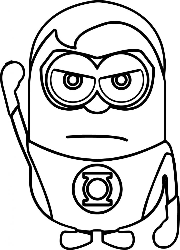 Minions coloring pages peace minion ~ Hero Man Minions Coloring Page | Wecoloringpage