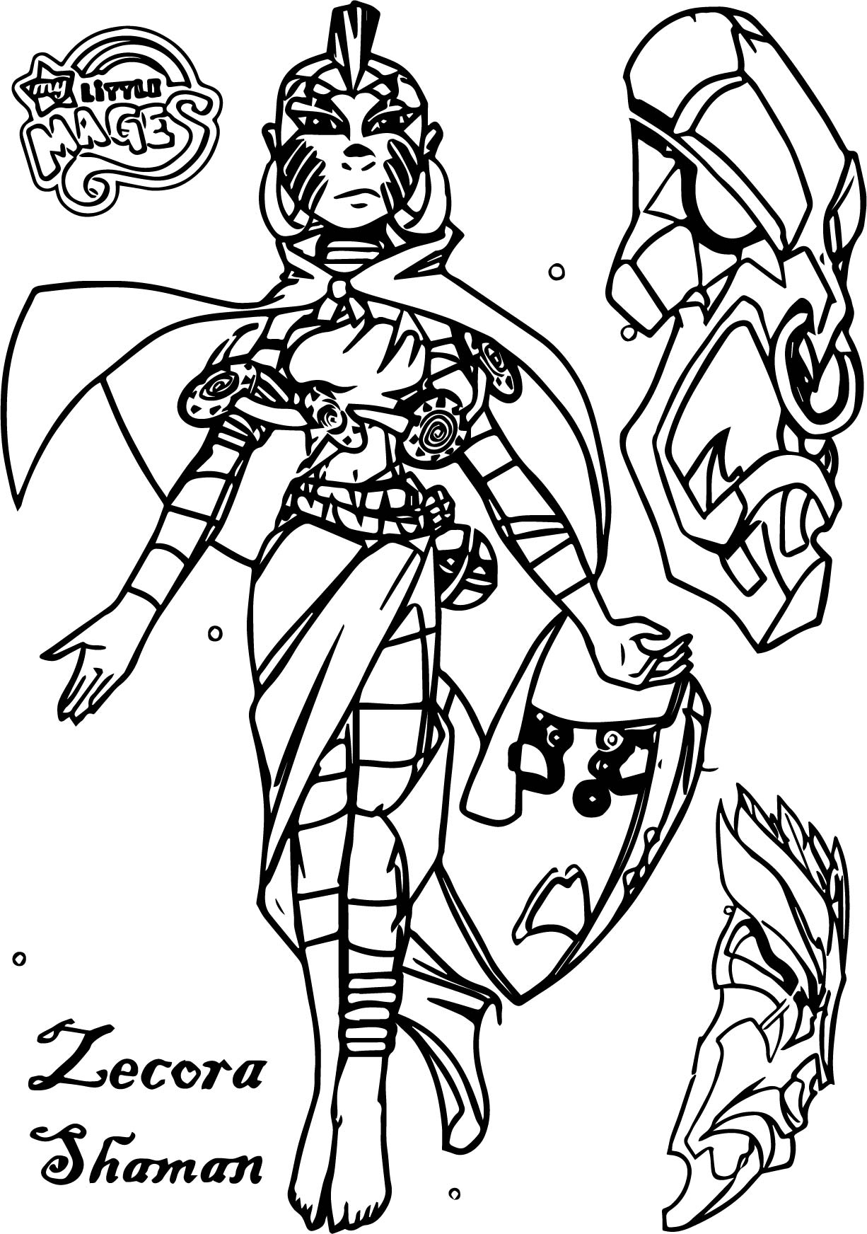 Human Humanized Mage Magic Masks My Little Mages Shaman Zecora Coloring Page