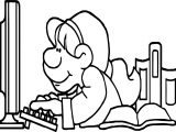 It Computer Girl Playing Computer Games Coloring Page