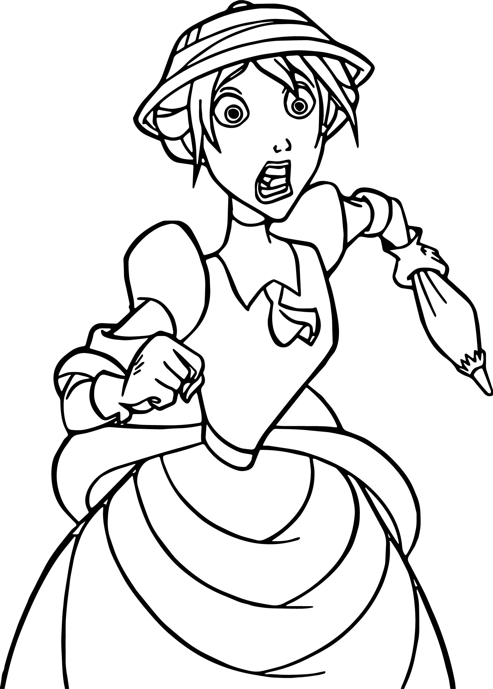 Jane Frightened Coloring Page