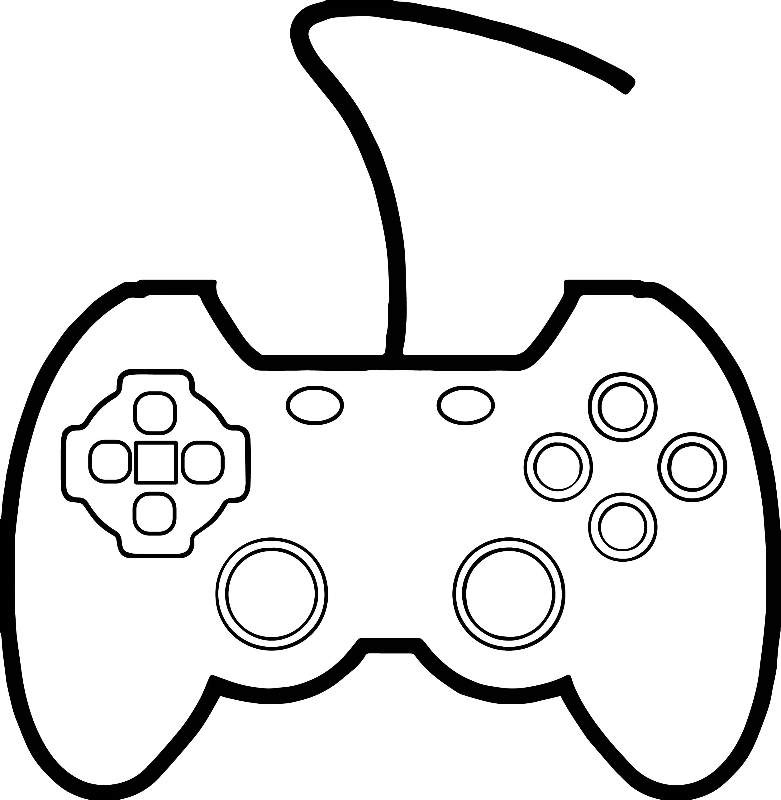 Coloring page xbox - Joypad The Mad Processor Playing Computer Games Coloring Page