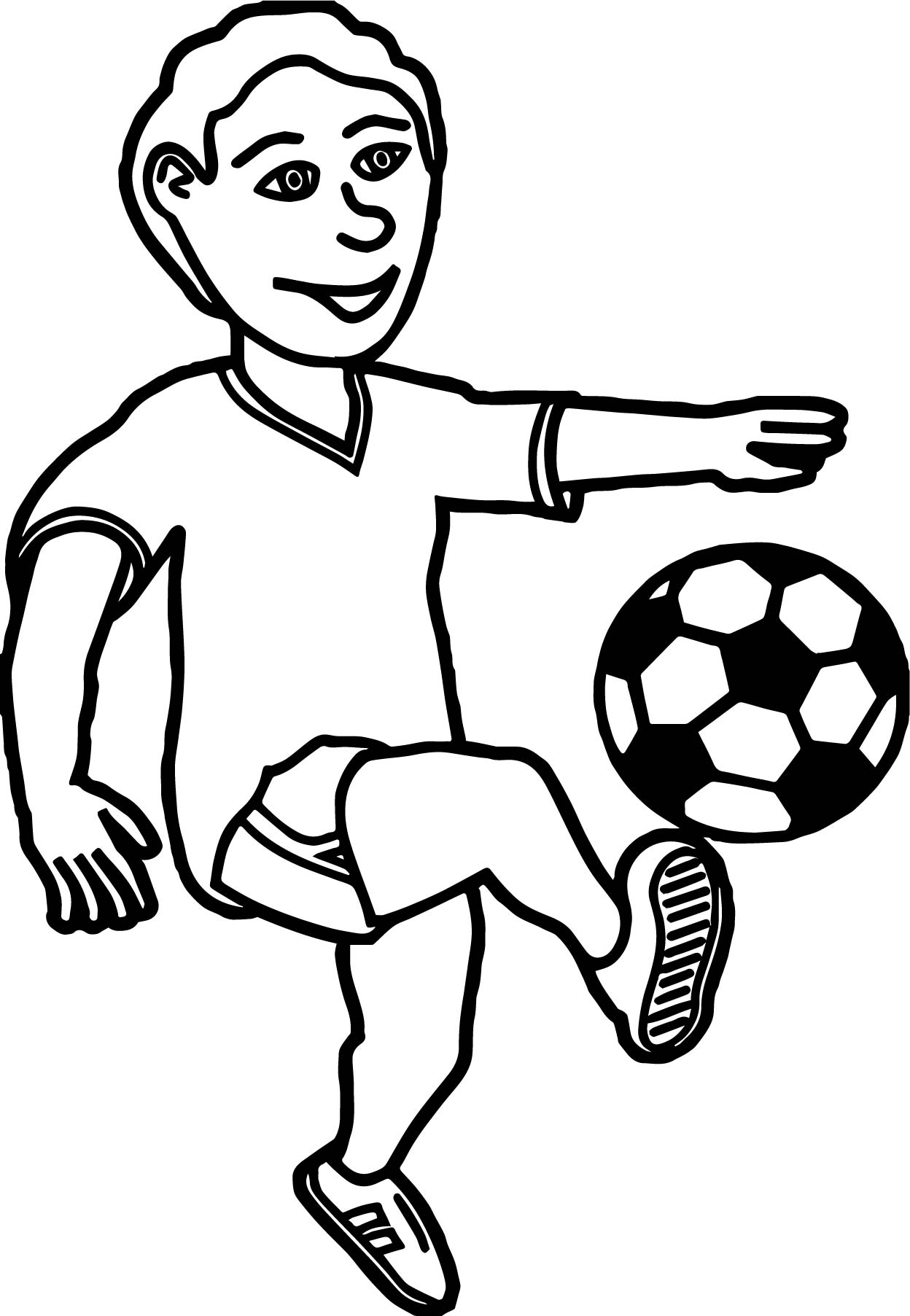 Kick Ball Boy Coloring Page