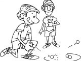 Kicking Marble Playing With Friend Coloring Page