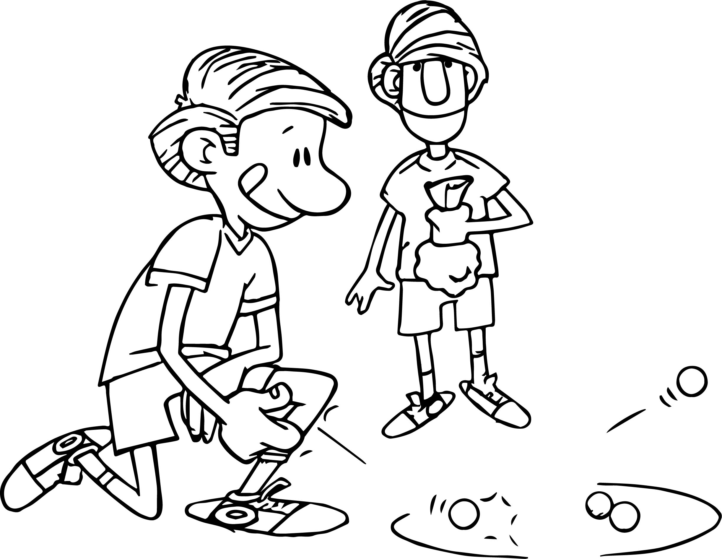 Kicking Marble Playing With Friend Coloring Page Wecoloringpage