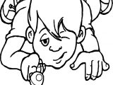 Kid Playing And Kicking Marbles Coloring Page