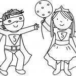 Kids Girl Boy Superman Playing Superheroes Super Hero Coloring Page