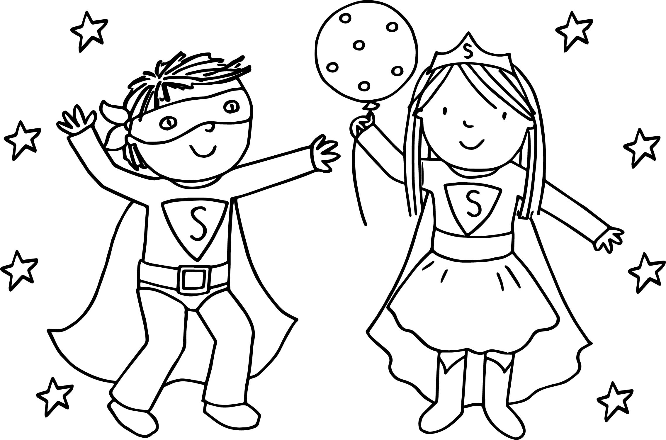 Kids Girl Boy Superman Playing Superheroes Super Hero Coloring Page