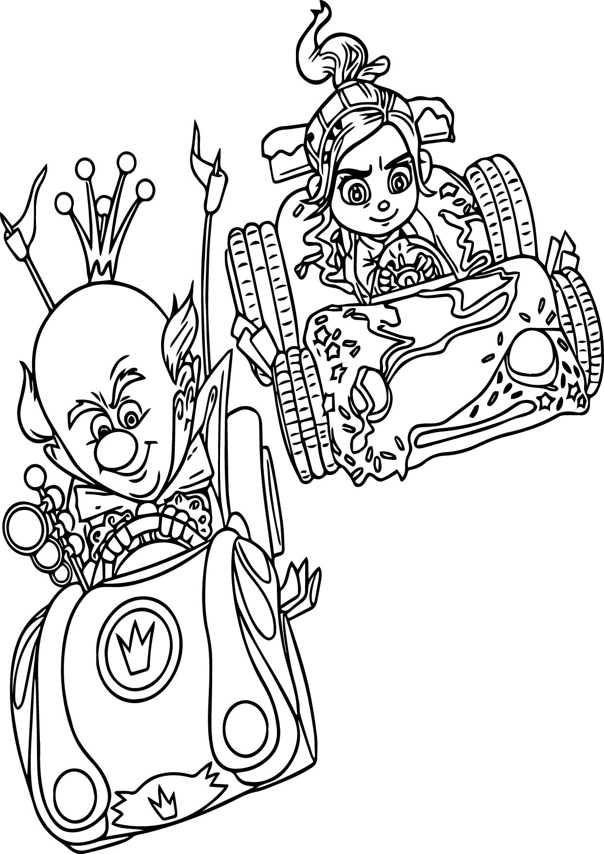 King Candy Vaneloppe Racing Coloring Page