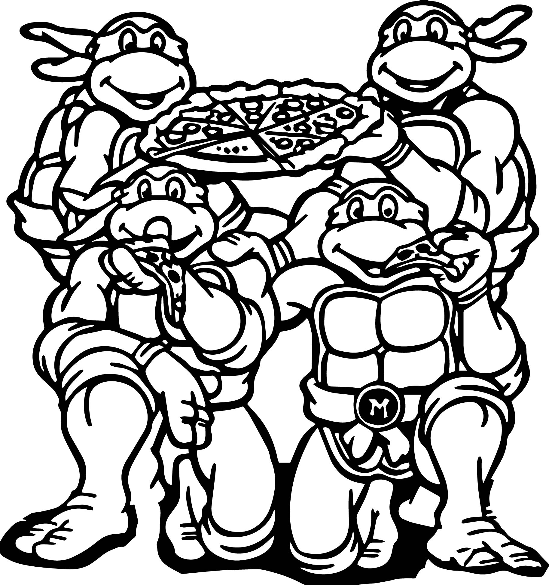 ninja turtle eat pizza coloring page | wecoloringpage - Ninja Turtle Pizza Coloring Pages