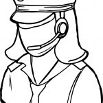 Occupations Pilot Female Empty Face Center Coloring Page