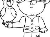 Parrot And Girl Coloring Page