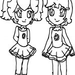 Peach And Daisy Children Coloring Page