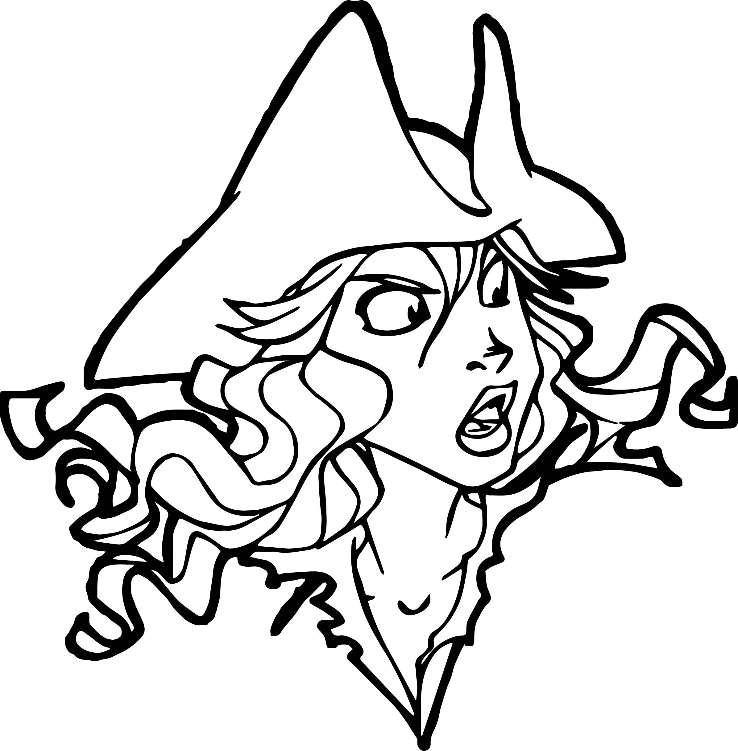 Pirates Of The Caribbean Character Girl Face Coloring Page