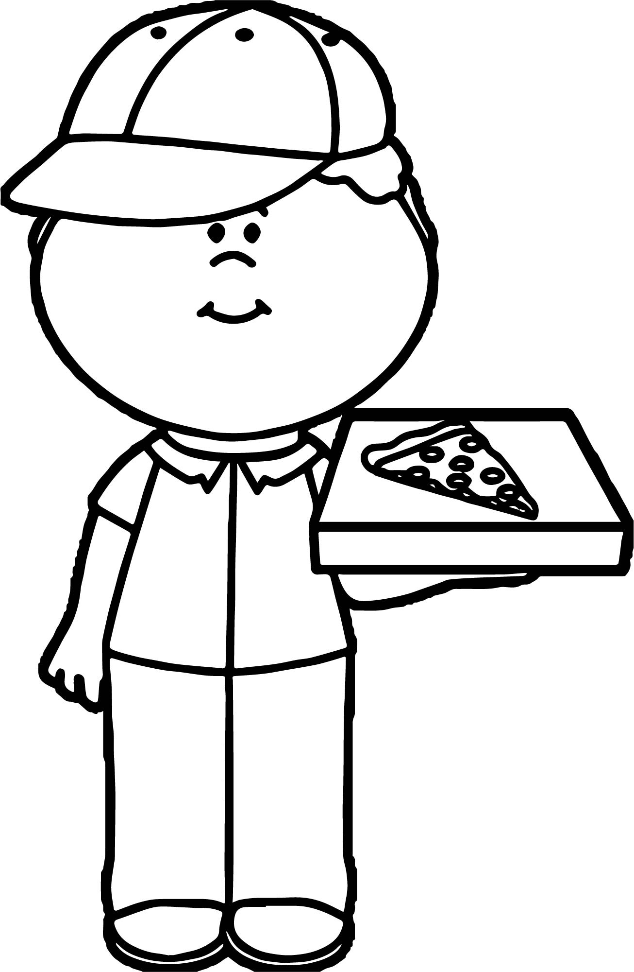 Pizza Delivery Boy Coloring Page