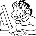 Playing Computer Boy Games Coloring Page