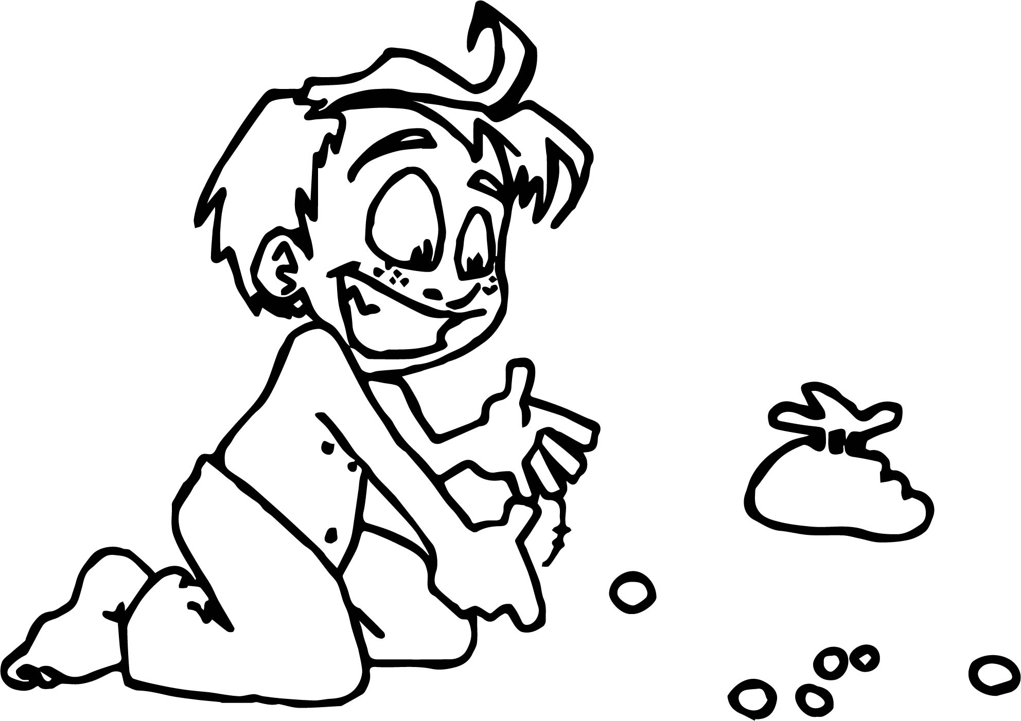 Playing Marbles Child Coloring Page