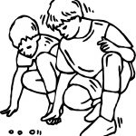 Playing Marbles Friends Coloring Page