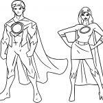 Powered Superheroes Super Hero Girl Boy Coloring Page