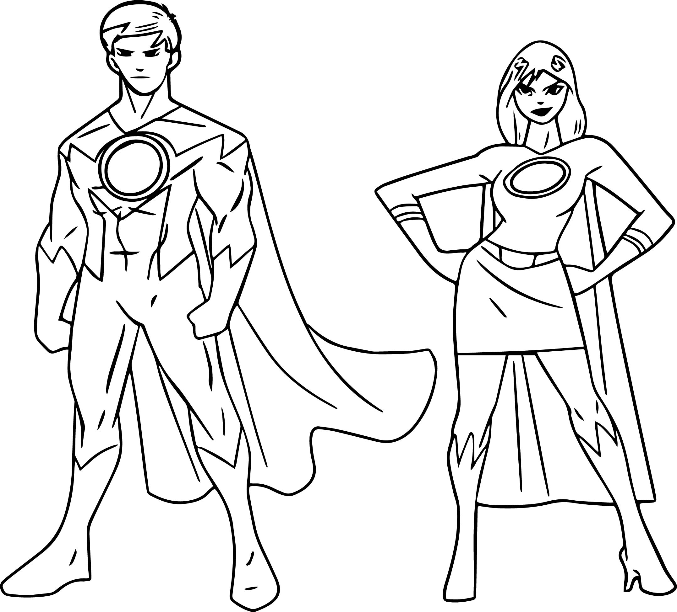 Powered Superheroes Super Hero Girl Boy Coloring Page Wecoloringpage