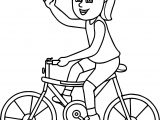 Riding Girl On Bicycle Coloring Page