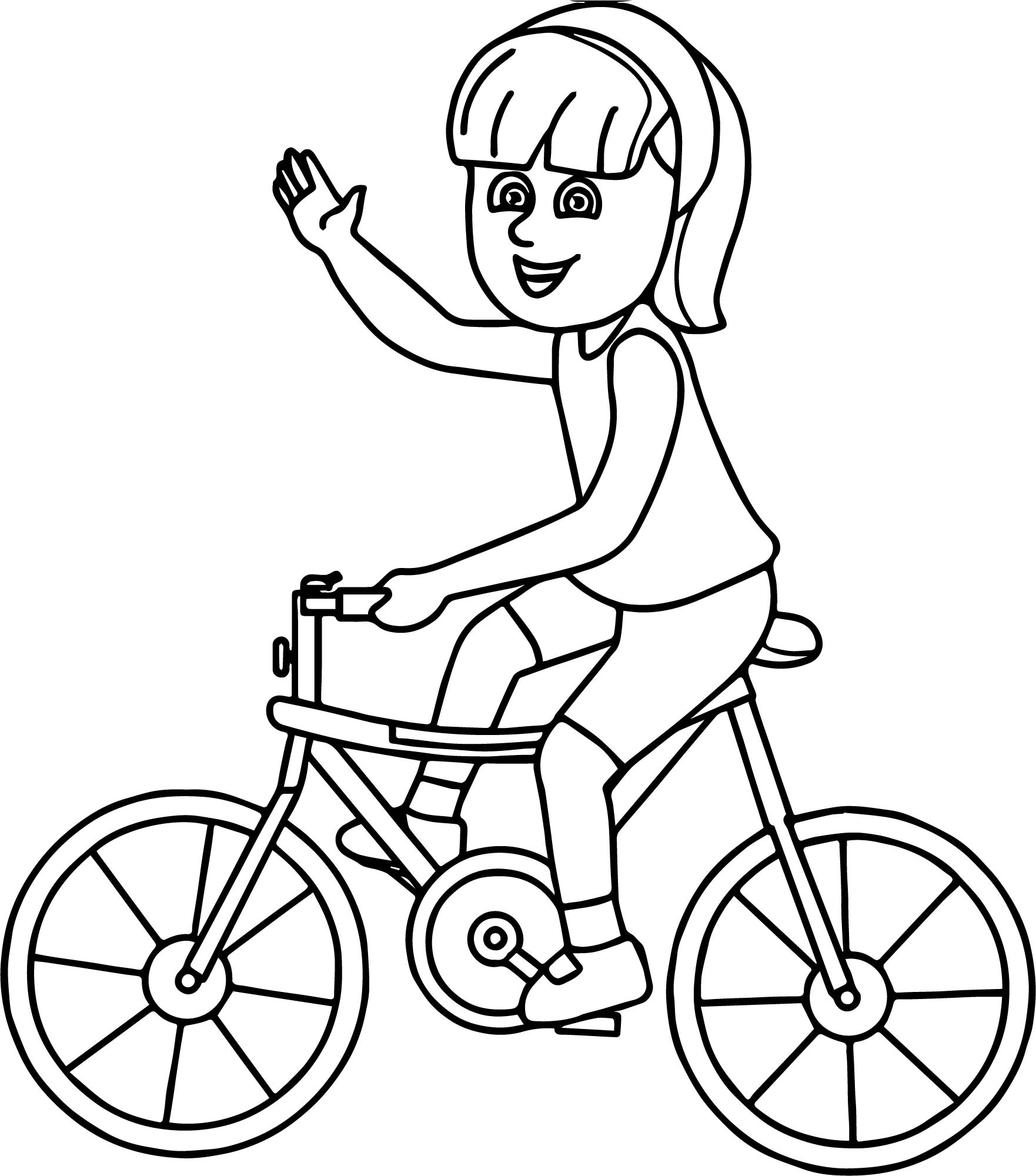 Riding Girl On Bicycle Coloring Page | Wecoloringpage