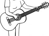 Short Hair Woman Playing The Guitar Coloring Page