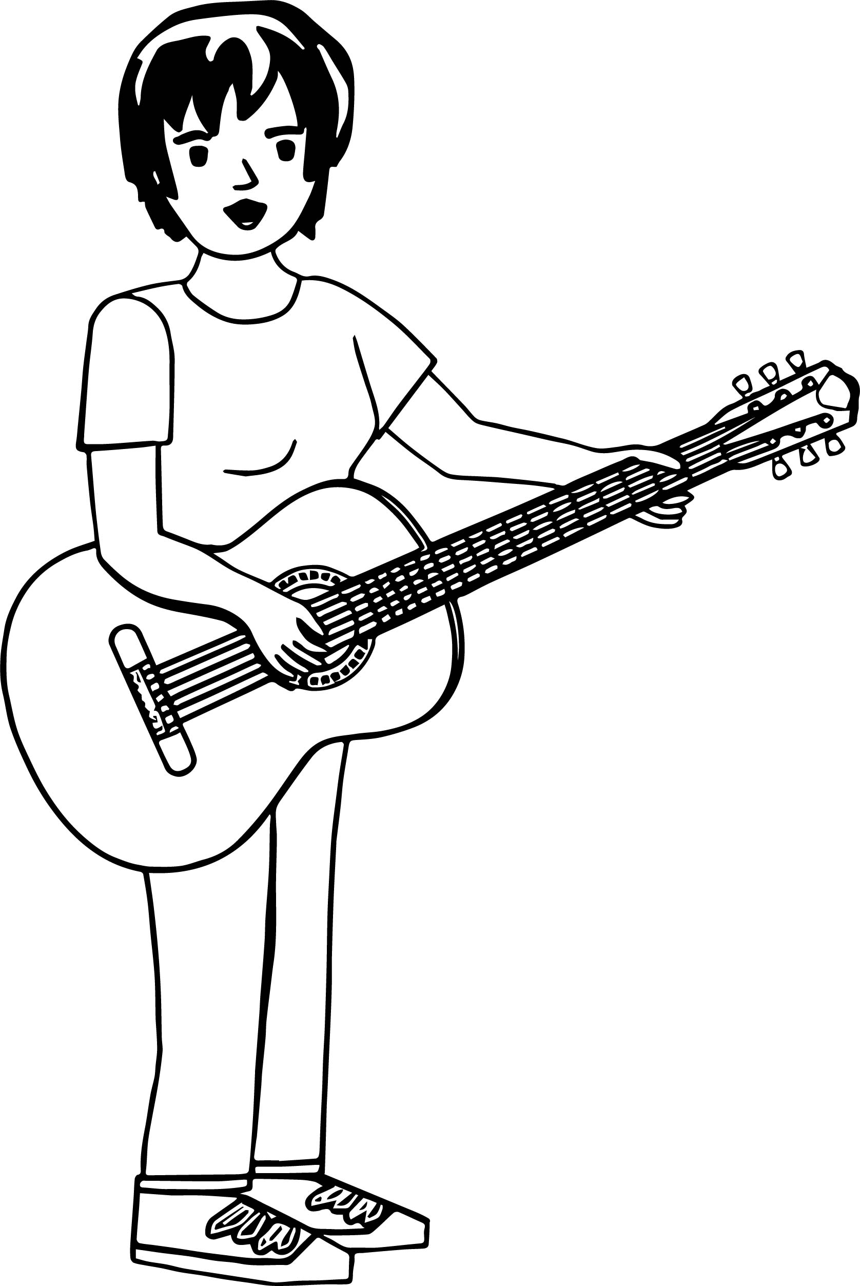 Short Hair Woman Playing The Guitar Coloring Page Wecoloringpage