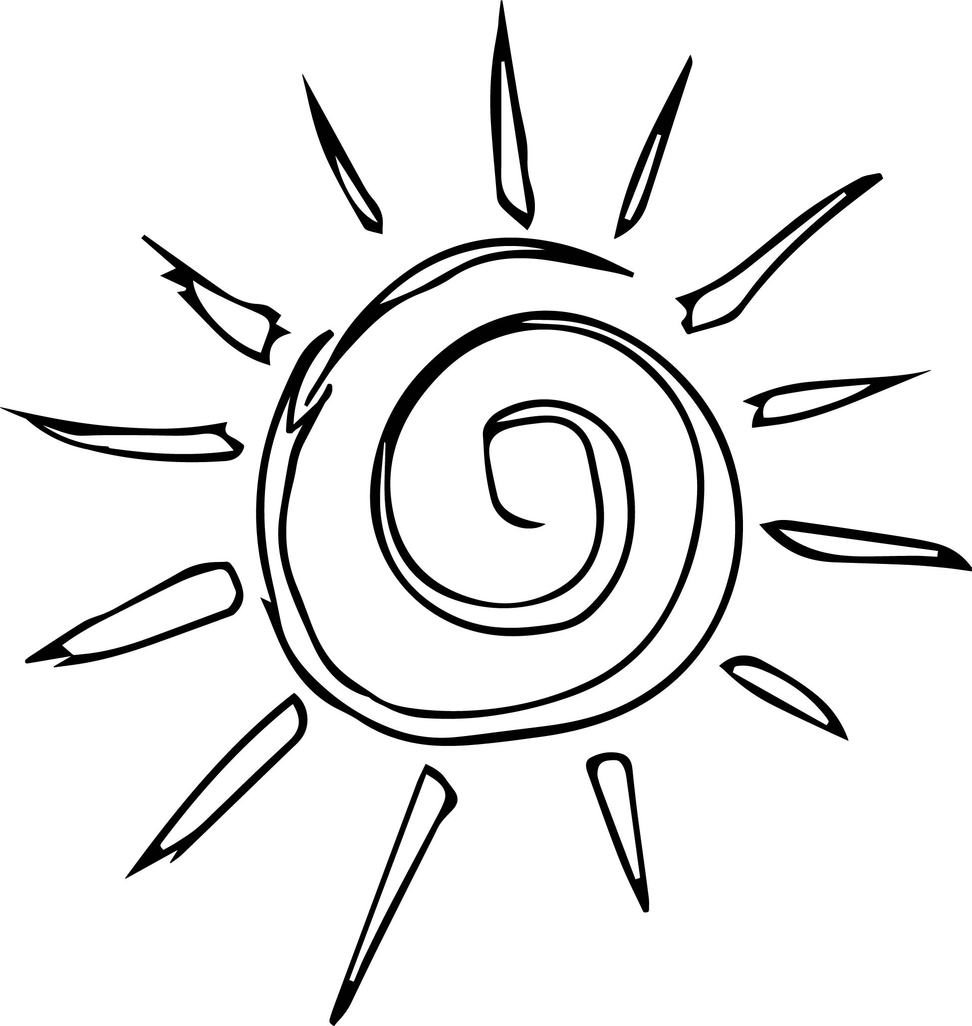 Simple Sun Motif Cartoon Coloring Page