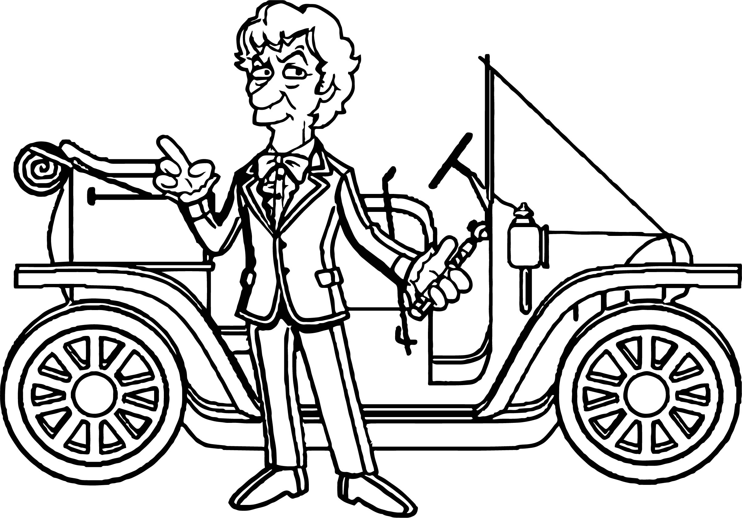 Simpsons Taxi Driver Car Coloring Page