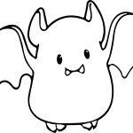 Small Cute Baby Cartoon Vampire Bat Coloring Page