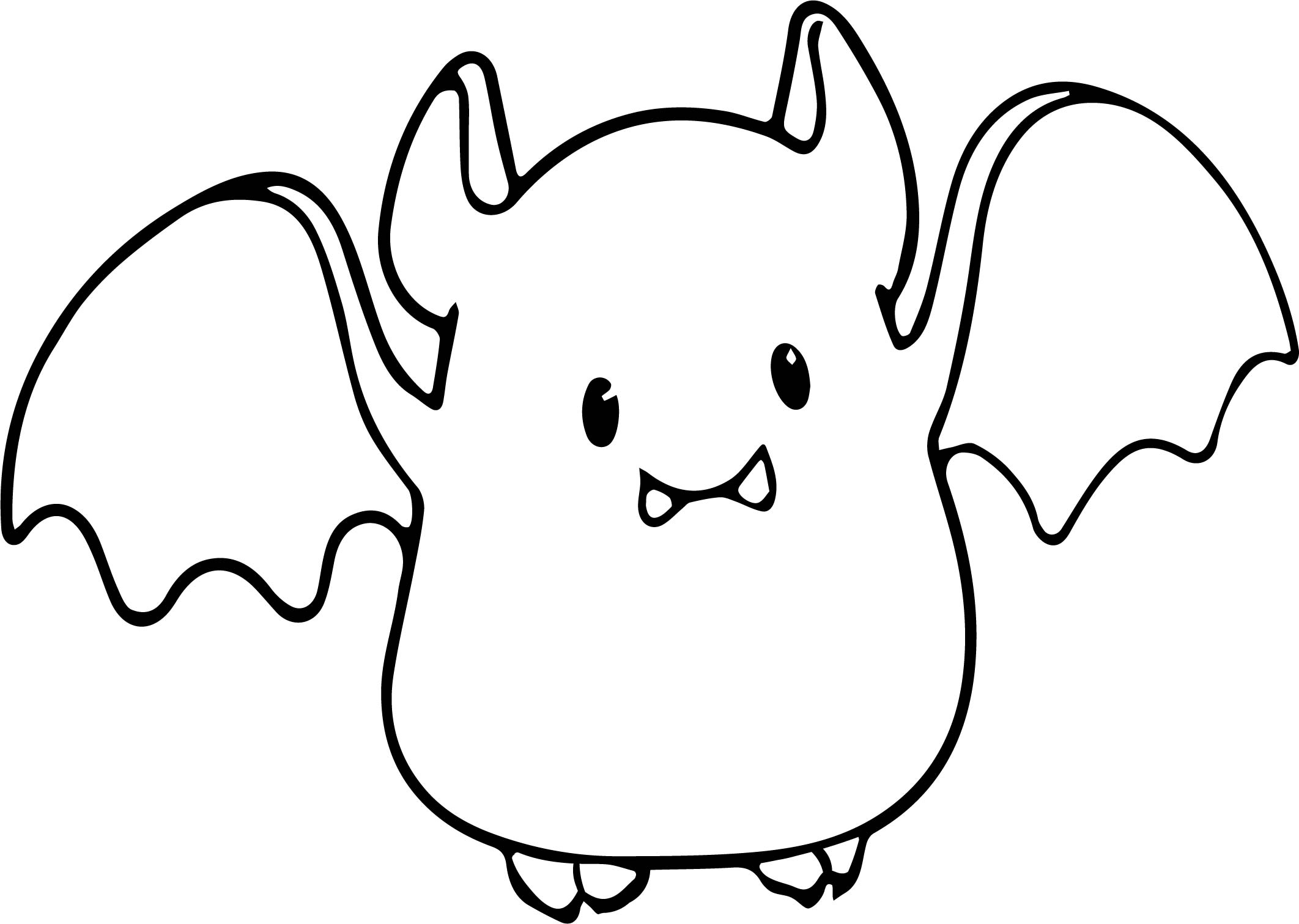 Small Cute Baby Cartoon Vampire Bat Coloring Page