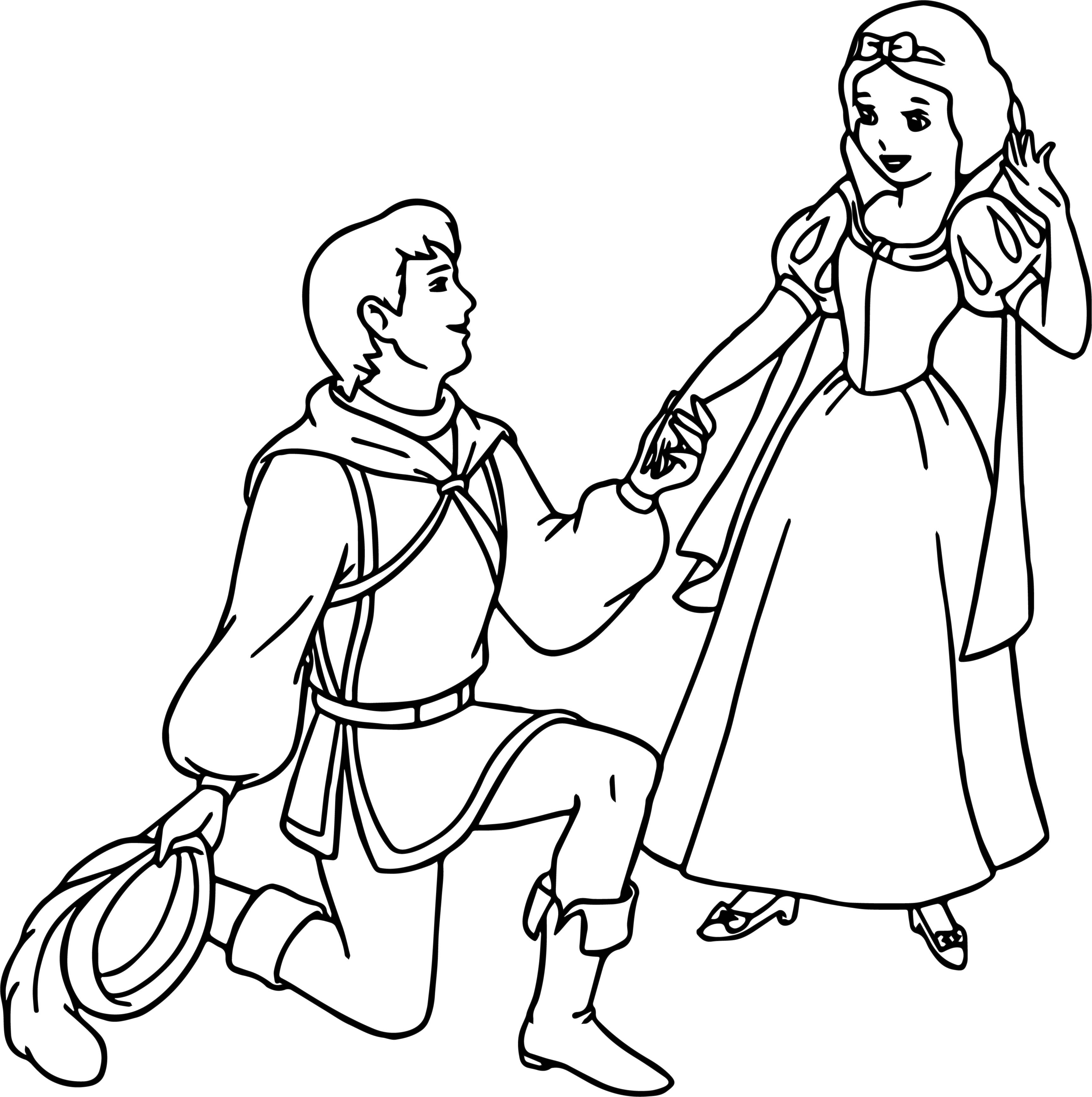 snow white and the prince meeting coloring page wecoloringpage
