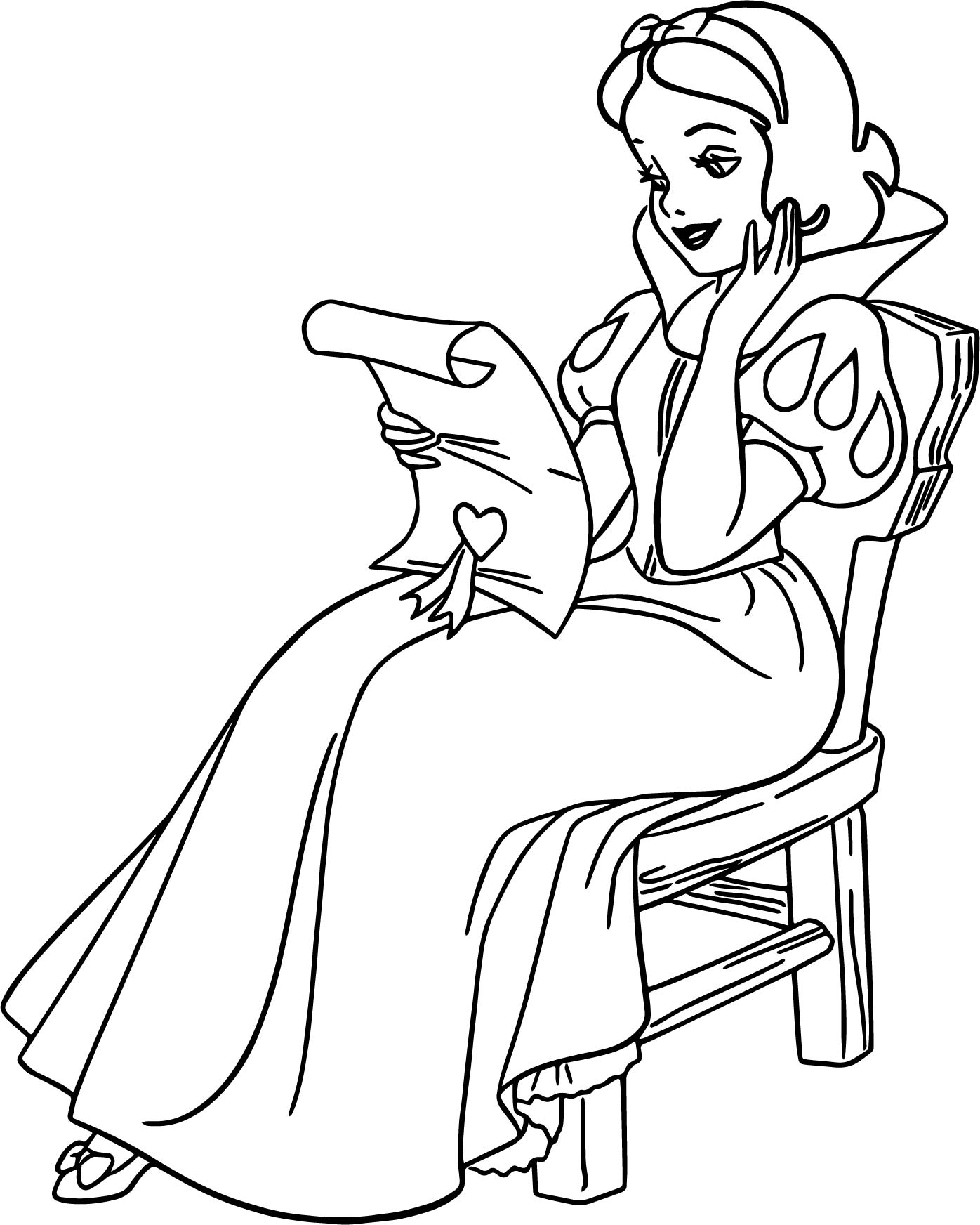 snow white reading coloring page wecoloringpage